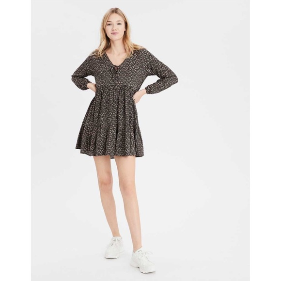 AE Long Sleeve Floral Tiered Baby Doll Mini Dress